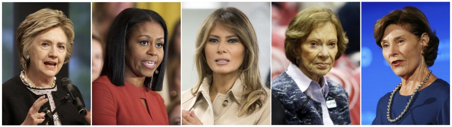 Hillary Clinton (from left), Michelle Obama, Melania Trump, Rosalynn Carter and Laura Bush all have expressed their concern about migrant children being torn from parents at the Mexico border.
