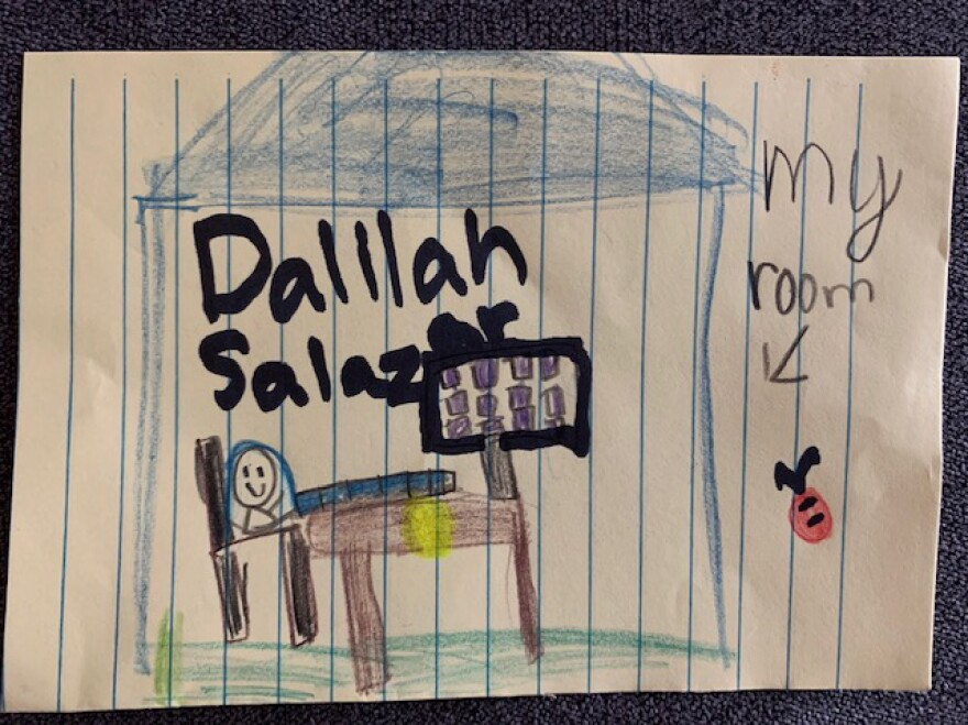 Dalilah drew us a nice picture of her room.
