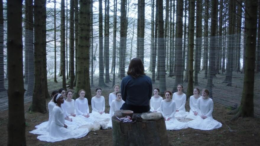 Shepherd (Michiel Huisman) and his flock in <em>The Other Lamb</em>.