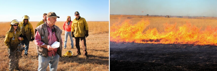 Gene Towne, the fire chief at Konza Prairie, lays out the day's burning plan.