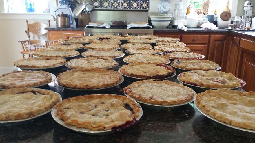 Pies cool on the DeWines' windowsil