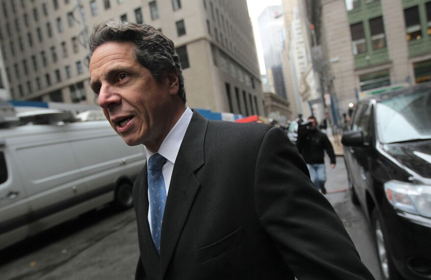 Andrew Cuomo leaves a news conference in February 2010 in New York City.