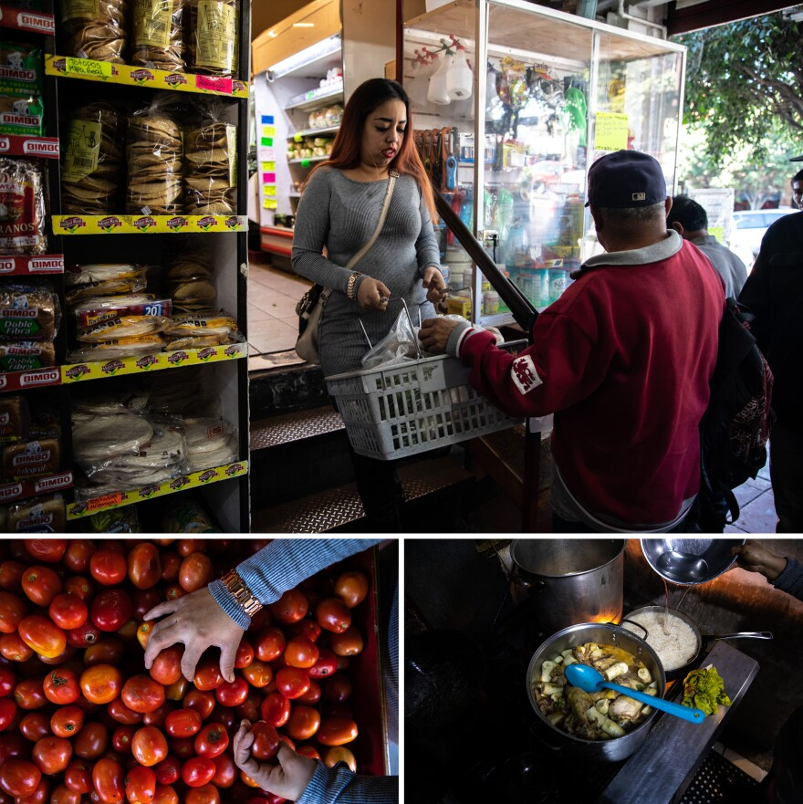 "Lilian Mejía stocks up on essential produce to cook her signature dishes like chicken stew. ""The first thing everyone says they miss when they leave their country is the food. We're happy we're able to bring home to them once a week,"" she says."