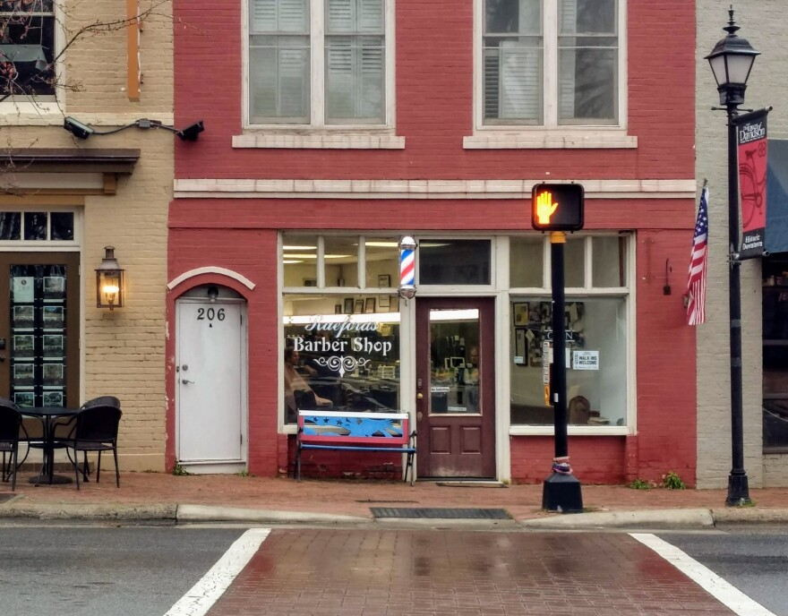 Raeford's Barber Shop in downtown Davidson was empty Saturday morning.