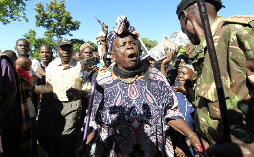 Sarah Hussein Obama, grandmother to President Obama, celebrates his re-election in his ancestral home village of Kogelo, Kenya.
