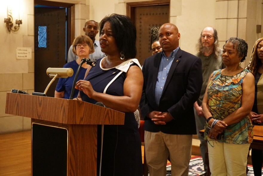 Sen. Karla May, D-St. Louis, reacts to the annual Vehicle Stops Report at Second Presbyterian Church on June 3, 2019.  She wants Missouri law enforcement officers to be held accountable for discriminatory practices during traffic stops against blacks.