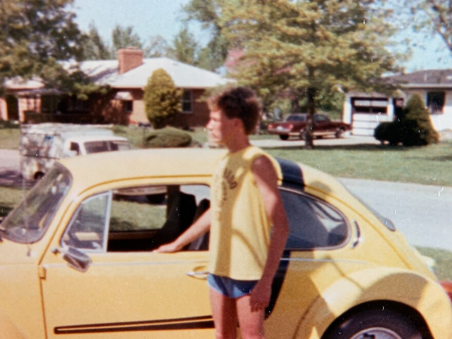 Paul Weidenbach in 1984, with his first car, a black-and-yellow Beetle named Gladys.
