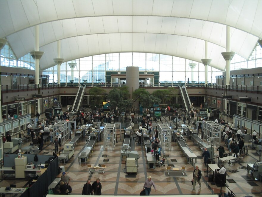 The security screening area at Denver International Airport.