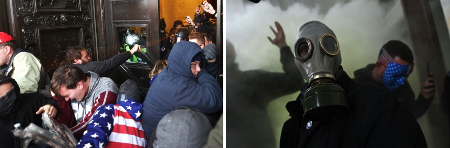 Left: Rioters gather at the door of the U.S. Capitol building. Right: A member of the mob wears a gas mask after storming the U.S. Capitol.