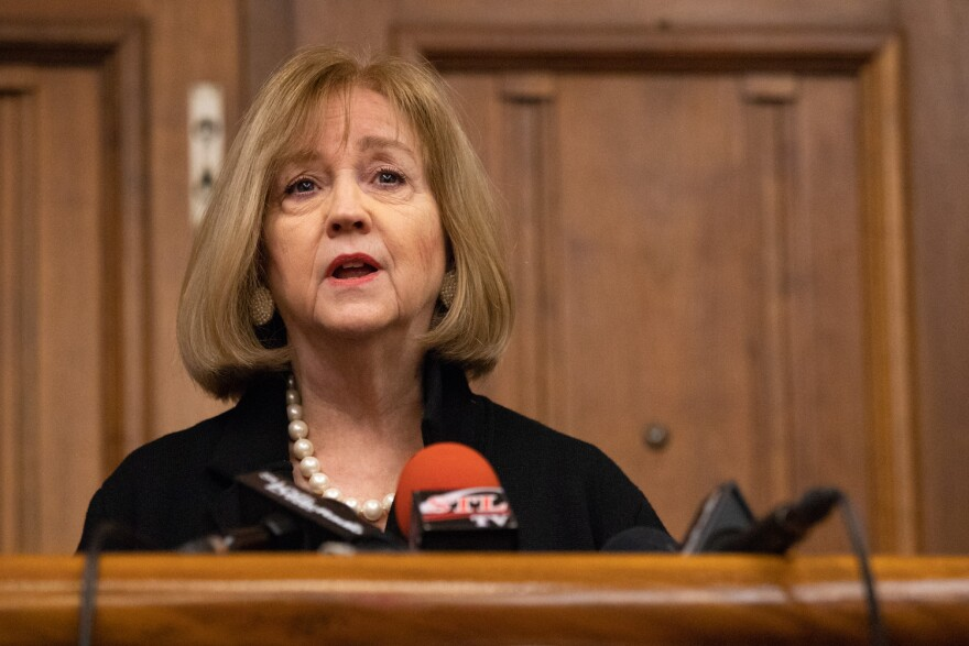 Mayor Lyda Krewson announces changes to homeless services during winter months at a press conference Oct. 30, 2019.