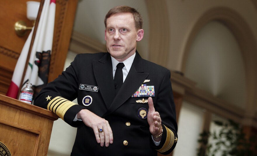 "The former director of the National Security Agency, Adm. Mike Rogers, tells NPR that in the run-up to the 2016 election he wishes ""we had taken more direct, more public action (against Russia) sooner as opposed to doing so after the election."" He's shown here in 2014."