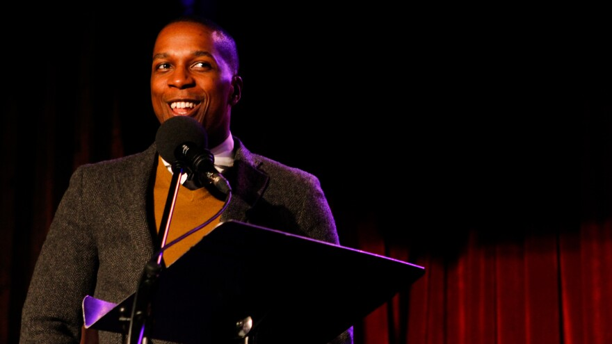 Leslie Odom Jr. on <em>Ask Me Another </em>at the Bell House in Brooklyn, New York.