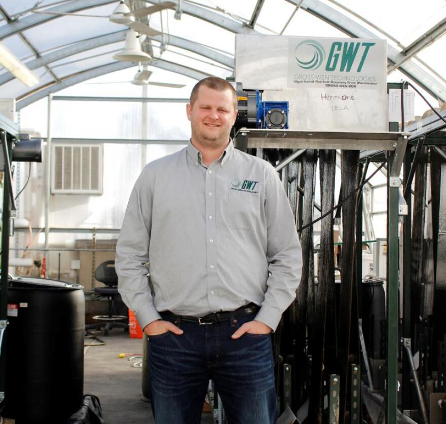 Martin Gross is president and co-founder of Gross-Wen Technologies, which uses algae to clean wastewater. He's standing in a greenhouse the company uses outside Ames, Iowa.