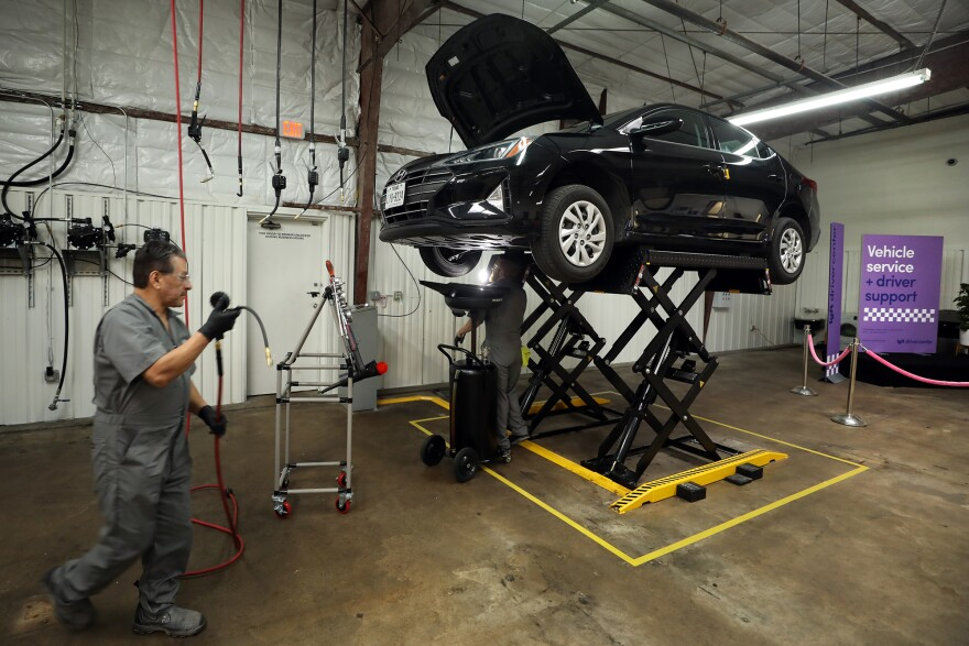 The Lyft Driver Center in Austin offers vehicle maintenance to its drivers.