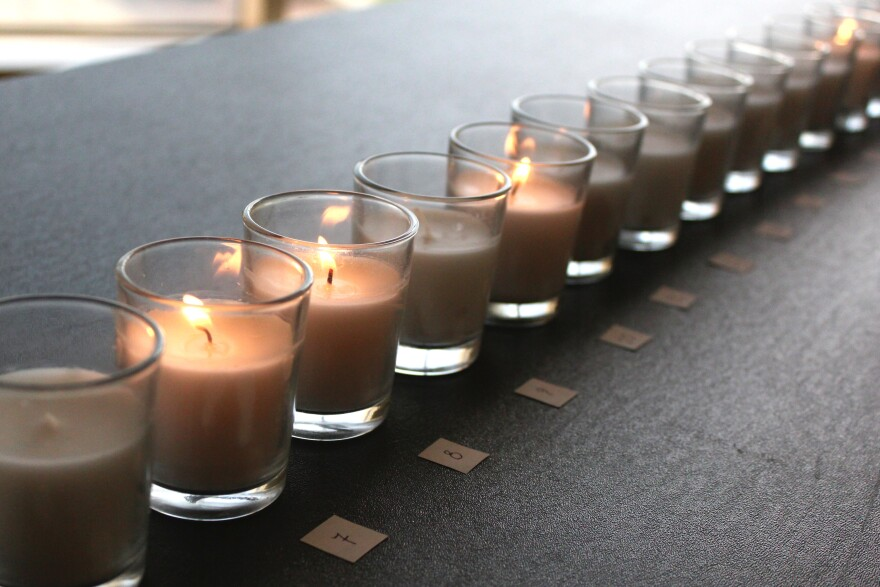 Candles are set out and numbered for each table's cadaver. Every candle was lit by students before the appreciation ceremony began.