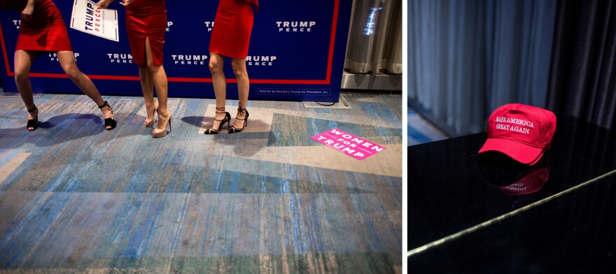 Supporters pose at the Trump victory party at the New York Hilton Midtown (left), where Trump supporters rallied with signs and other ephemera.