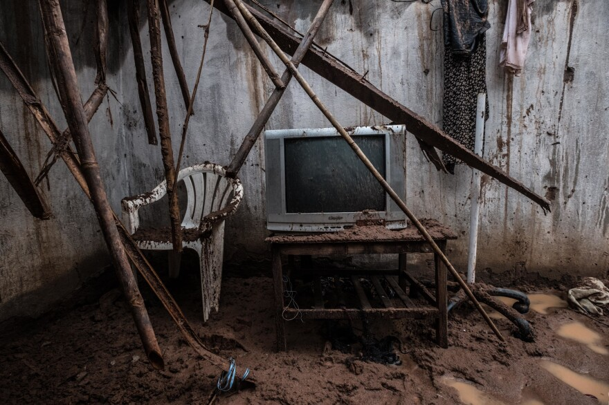 A TV is still standing — but probably not working — in the cyclone-damaged home of Tamazina Carlos in Macomia.