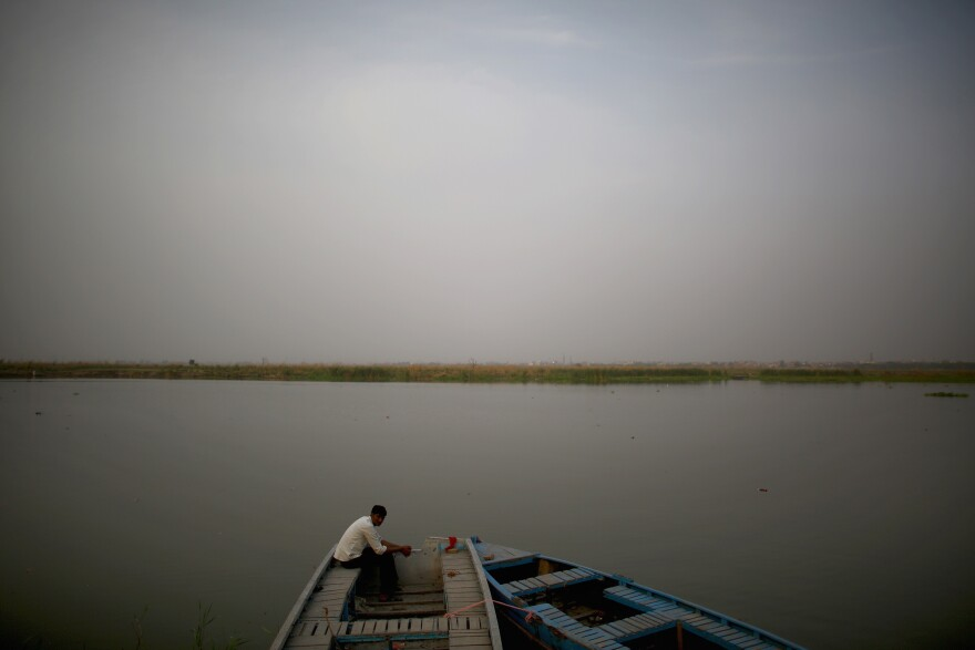 The Yamuna Reservoir, just before the river enters New Delhi, is the source of drinking water for over a third of Delhi's 17 million inhabitants. Just downstream at the Wazirabad Barrage, the river turns to a barely flowing, lifeless body as it makes its way for 13 miles past the eastern edge of the city.