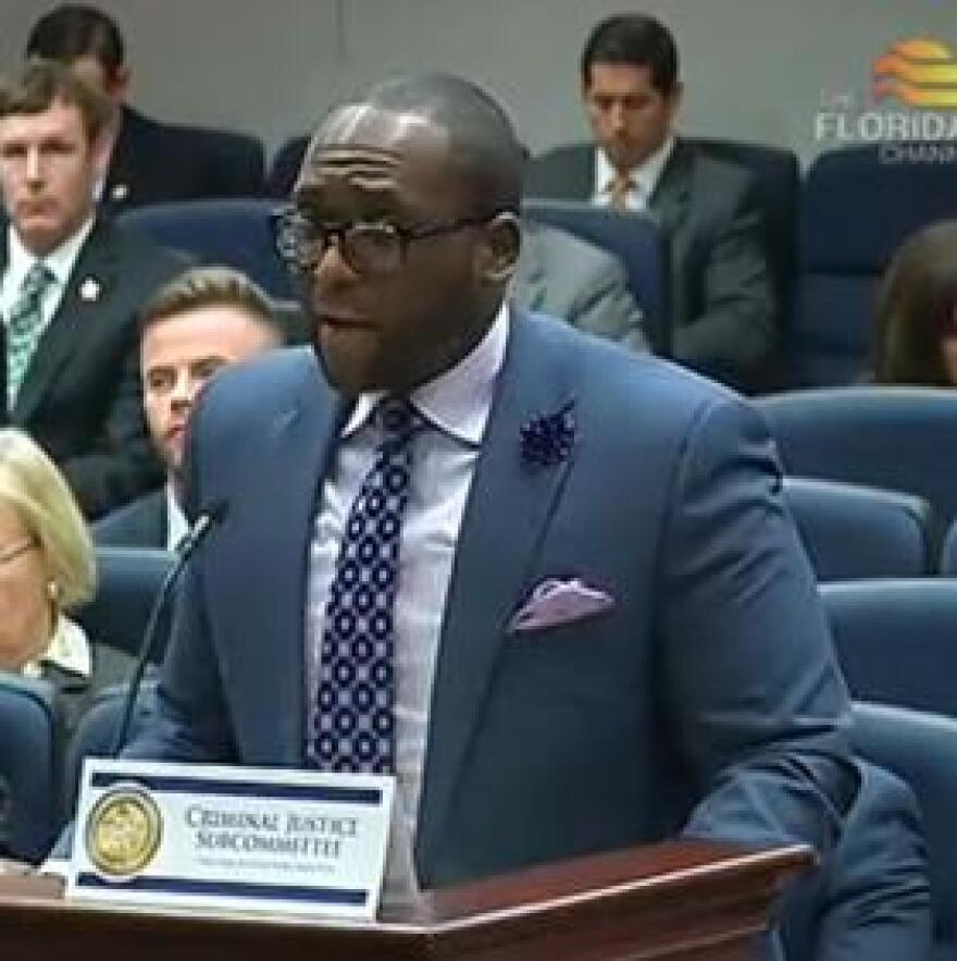 Rep. Shevrin Jones (D-West Park) speaking before the House Criminal Justice Subcommittee Wednesday.