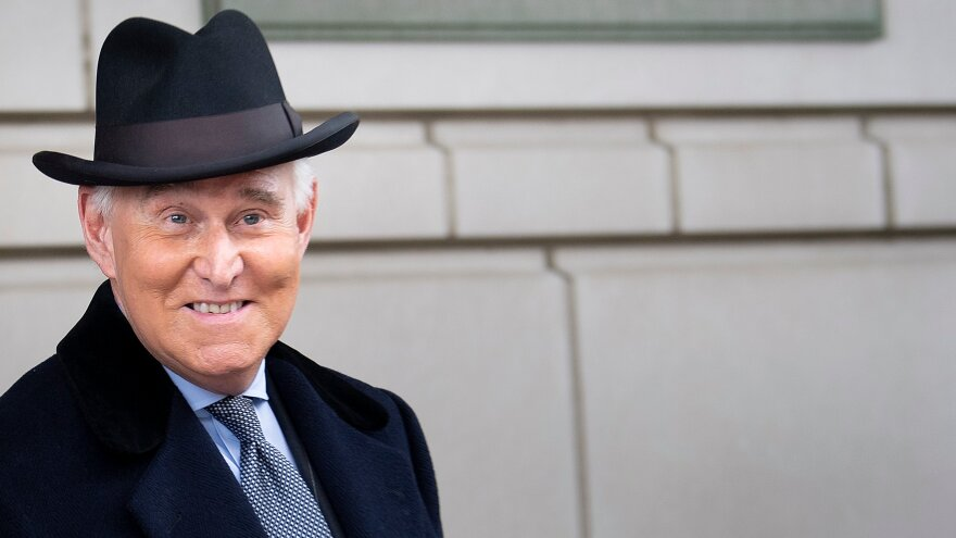 Roger Stone leaves federal court after a sentencing hearing in February in Washington, D.C.