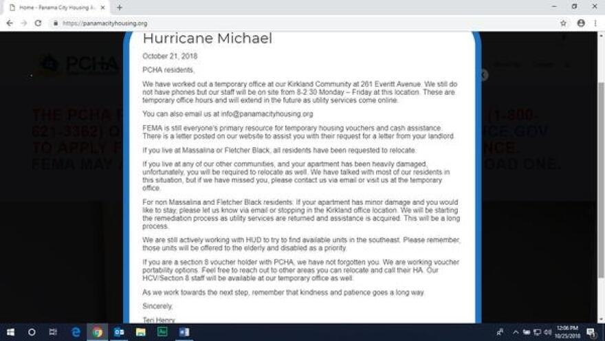 The notice on the Panama City Housing Authority's website informs residents they will have to leave as many of the properties are in the process of being condemned.   (Oct. 23rd, 2018)