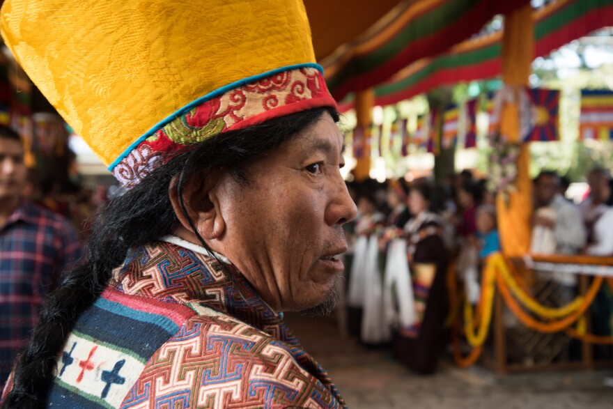 Tibetan opera performers attend a prayer ceremony for the Dalai Lama at his monastery in Dharamsala, India, in September.