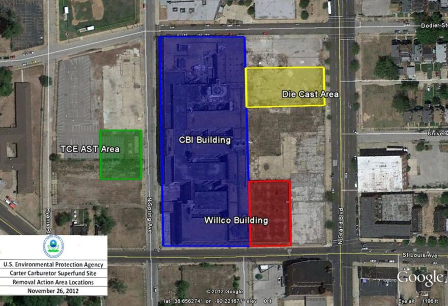 This 2012 EPA map shows the location of the four main areas of contamination at the Carter Carburetor Superfund site.