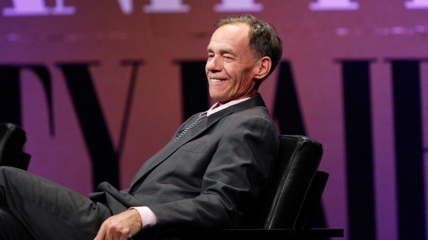 "<em>The New York Times</em> columnist David Carr speaks onstage Oct. 8, 2014 while moderating """"Missing Ink: The New Journalism"""" at the <em>Vanity Fair</em> New Establishment Summit in San Francisco, Calif."