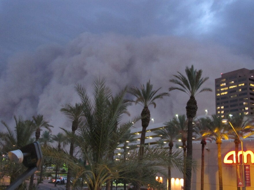 """A dust storm known as a """"habub"""" rolled over downtown Phoenix on Tuesday night (July 5, 2011), bringing strong winds and low visibility."""