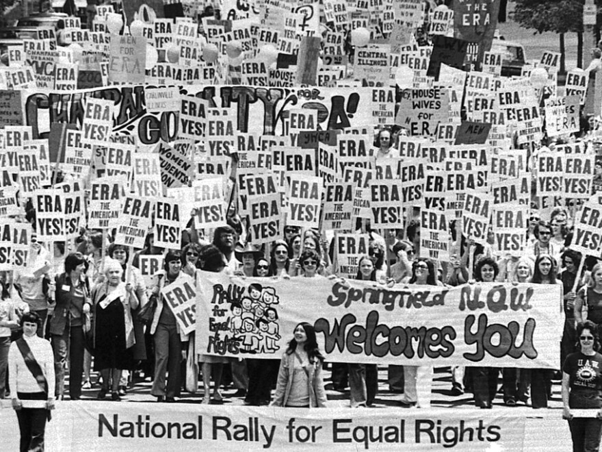 An estimated 10,000 marchers descend on the Capitol building in Springfield, Ill., to demonstrate for the state's passage of the Equal Rights Amendment on May 16, 1976.