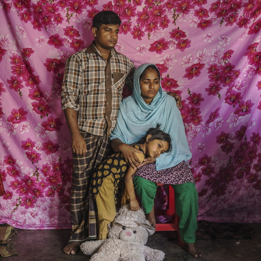 """Saju Talukdar had worked at the 2013 Rana Plaza garment factory before it collapsed. """"Having a job is important for a person and his family,"""" he says. """"Our condition will never be as great as it was before. Previously my wife and I both worked and earned 18-20,000 takas per month. But now my income has decreased to only 6,000 per month."""""""