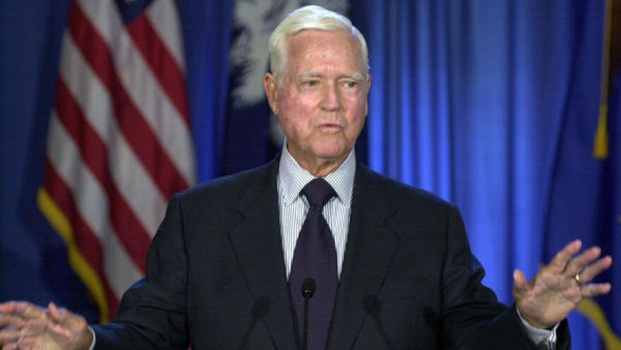 "Former Sen. Ernest ""Fritz"" Hollings, pictured here in 2003, died early Saturday, according to a former staffer."
