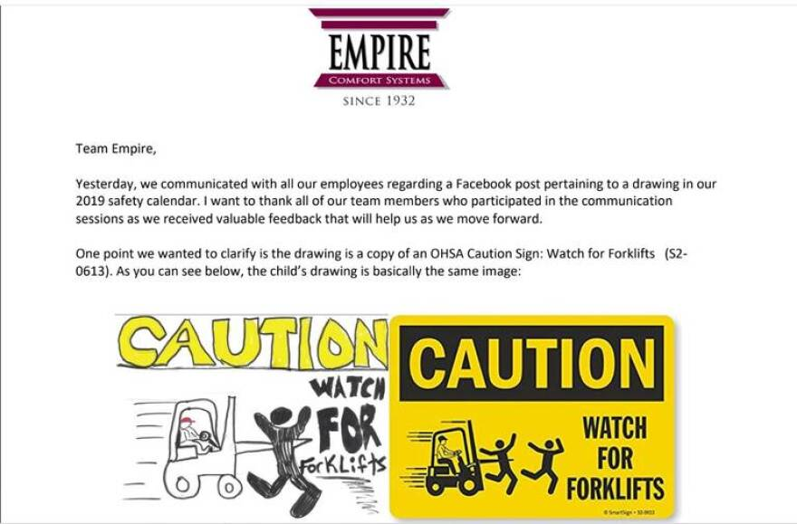 A letter from President Nick Bauer to employees of Empire Comfort Systems in Belleville shows the original sign, right, and a child's drawing that appeared in a company calendar. Some have called the image racist.