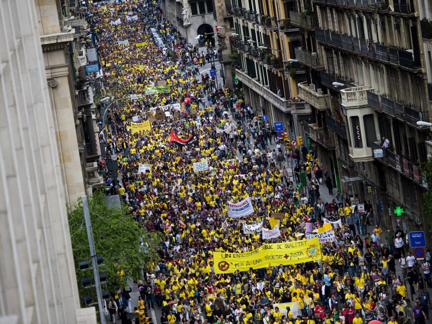Thousands of teachers and students demonstrate during a protest against education cuts on May 22 in Barcelona, Spain. Teachers are planning another strike for later in September.