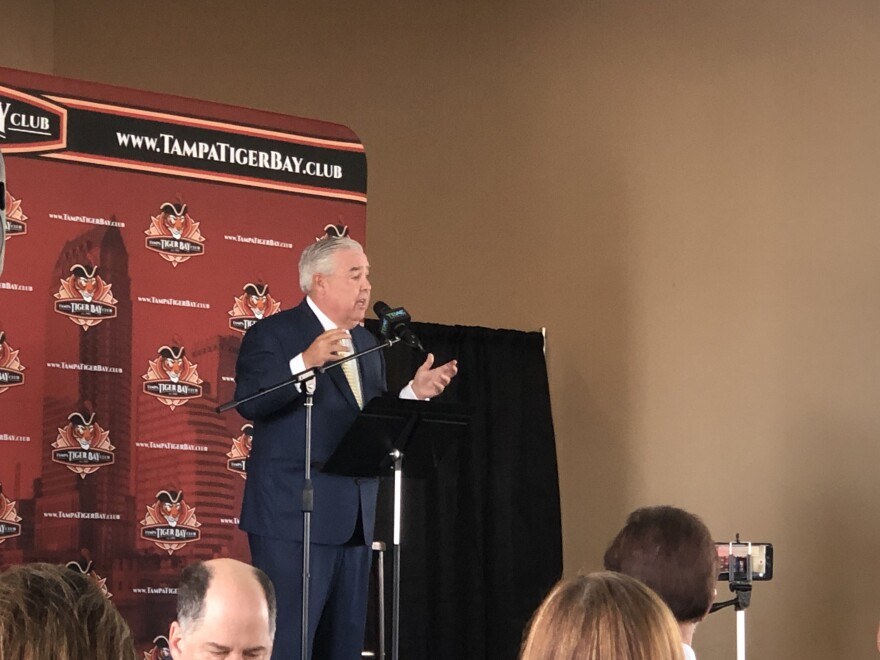 John Morgan speaking at the Tampa Tiger Bay Club luncheon.