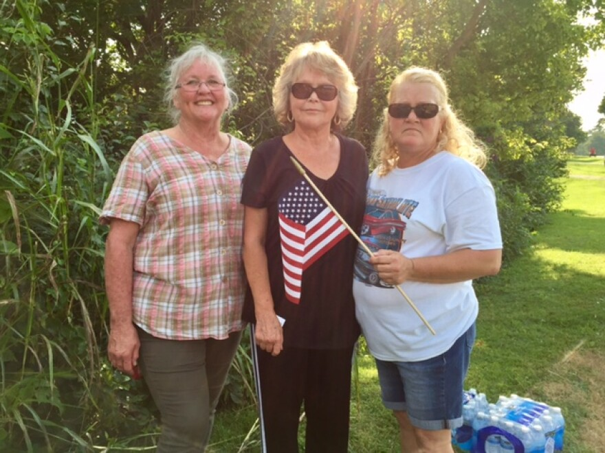 Franklin residents Cathy Fisher, Juanita McGuire and Becky Graham. They participated in a pro-Confederacy rally Aug. 19, 2017, at the former site of a Confederate plaque. They and many other residents say they are angry over the monument's recent removal