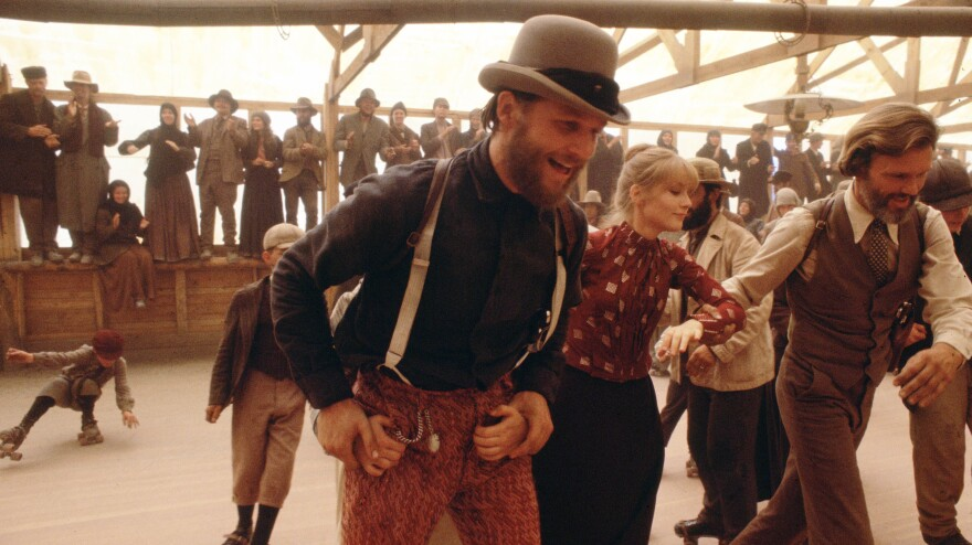 Jeff Bridges as John L. Bridges, Isabelle Huppert as Ella Watson and Kris Kristofferson as James Averill in the 1980 Western <em>Heaven's Gate,</em> a director's cut of which was released in November.