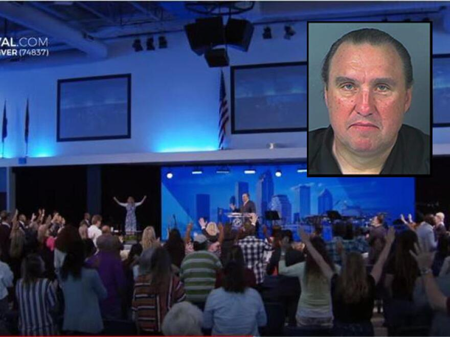 A large crowd gathers inside a church and doesn't follow social distancing rules. The pastor's mugshot is in the upper right corner.