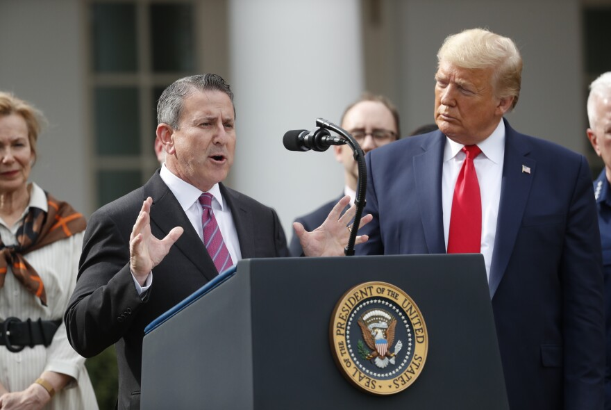 Brian Cornell, board chairman and CEO of Target Corp., speaks during the March 13 news conference with President Trump at the White House. Target has so far not opened any COVID-19 testing sites.
