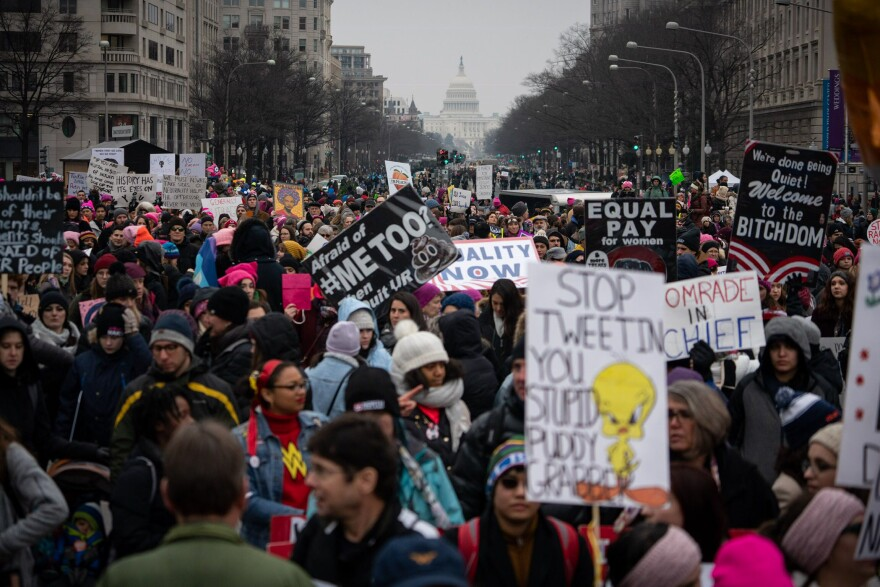 "The demonstrators took to the streets just weeks after <a href=""https://www.npr.org/2018/11/07/665019211/a-record-number-of-women-will-serve-in-congress-with-potentially-more-to-come"">women were sworn into Congress</a> in record numbers."