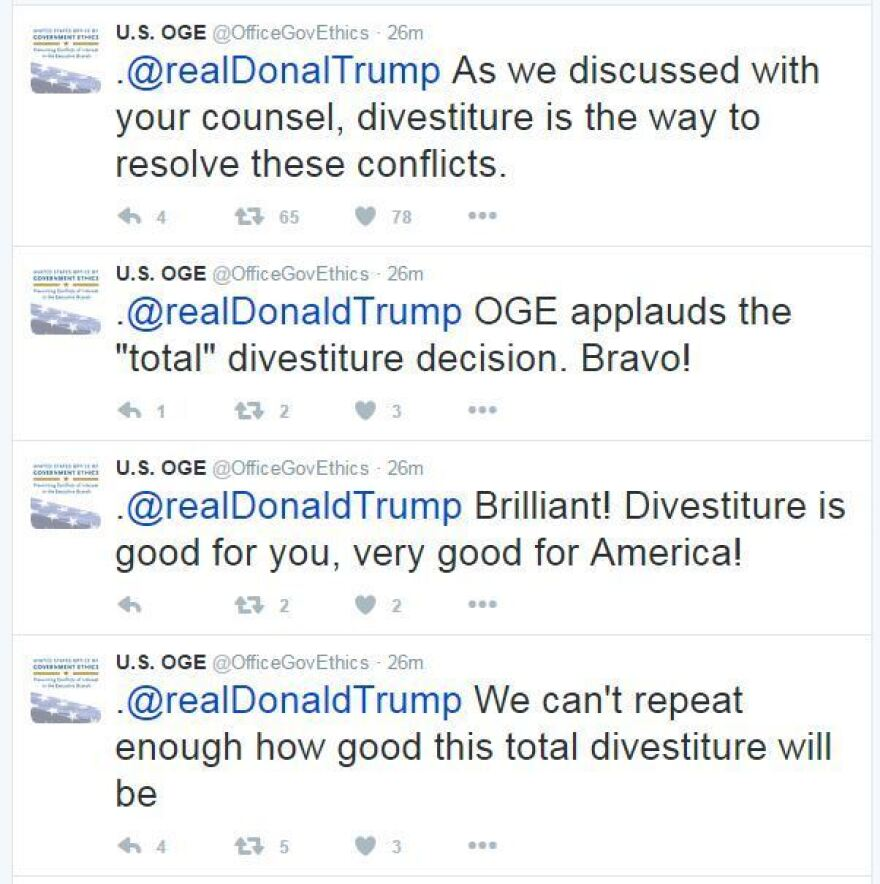 A series of tweets aimed at Trump was posted, deleted, then re-posted from the verified account of the Office of Government Ethics.