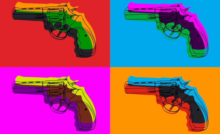 A graphic of psychedelic bright colorful backgrounds and six contour revolvers.