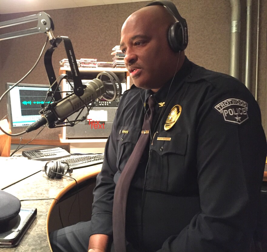 Trotwood Police Chief Erik Wilson recording an interview at WYSOs studios.