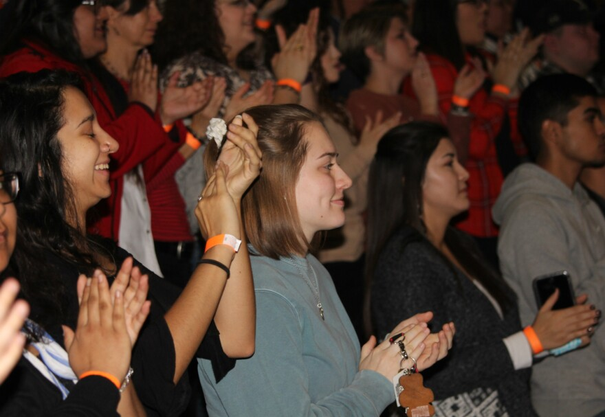Students, faculty and staff stood up and cheered when Justice Sotomayor entered the packed auditorium Jan. 25, 2018. Two overflow rooms on the main campus and one on the downtown campus were also full, for a total audience of about 1,200.