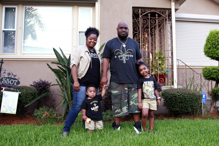 Paul and Lakeya Mazant met in 2007, during Mardi Gras, as New Orleans was reeling from the flooding after Hurricane Katrina. The couple — pictured with their son Paul, 1, and daughter Logan, 5 — say they couldn't imagine falling in love with someone who hadn't experienced the storm.