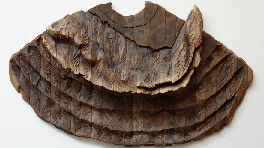 "Ursula von Rydingsvard's <em>Oddychajaca</em> is currently on view in Manhattan at the Museum of Art and Design's exhibit ""Against the Grain."" ""I don't want the cuteness associated with the wood,"" she says, ""or even the nostalgia."""