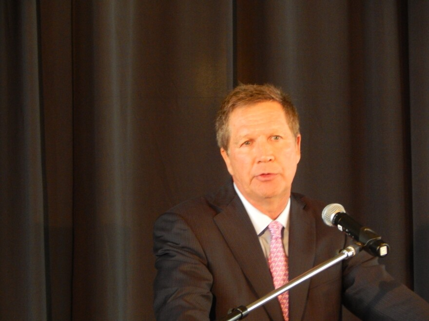 Governor John Kasich speaking at Sinclair Community College Thursday.