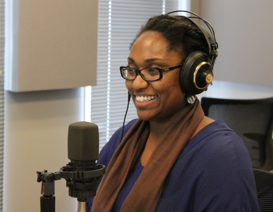 Author Marcia Chatelain talks to 'St. Louis on the Air' host Don Marsh on March 12, 2015, at St. Louis Public Radio in St. Louis.