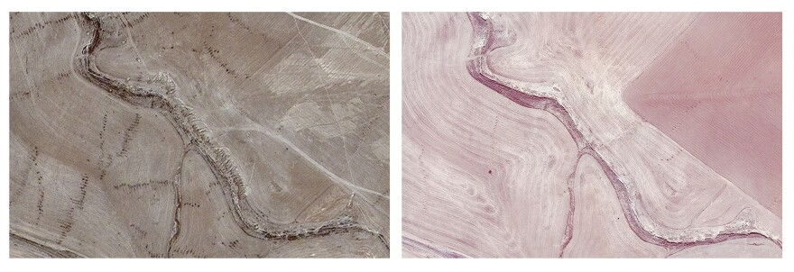 This combination of two satellite images provided by AllSource Analysis shows a suspected mass grave site with tire tracks leading to a ravine (top left) and evidence of digging along the ravine at Badoush Prison in Mosul, Iraq, on July 17, 2014, (left) and the site on Nov. 15, 2013, (right).