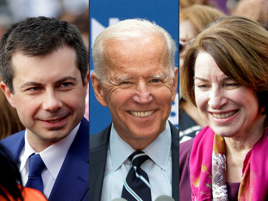 Former South Bend, Ind., Mayor Pete Buttigieg, left, and Minnesota Sen. Amy Klobuchar are throwing their support behind former Vice President Joe Biden in the Democratic presidential race.